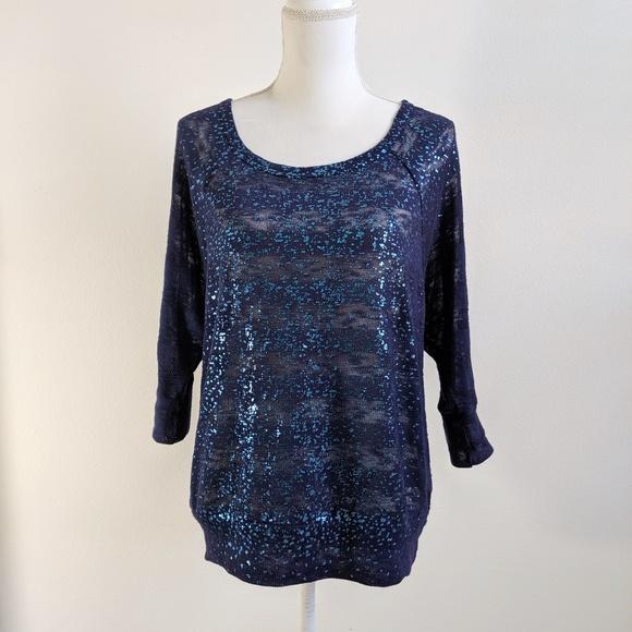 Fang Navy Blue Metallic Knit Tunic